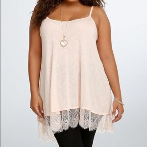 5 for $25 TORRID lace trim cami tank pink